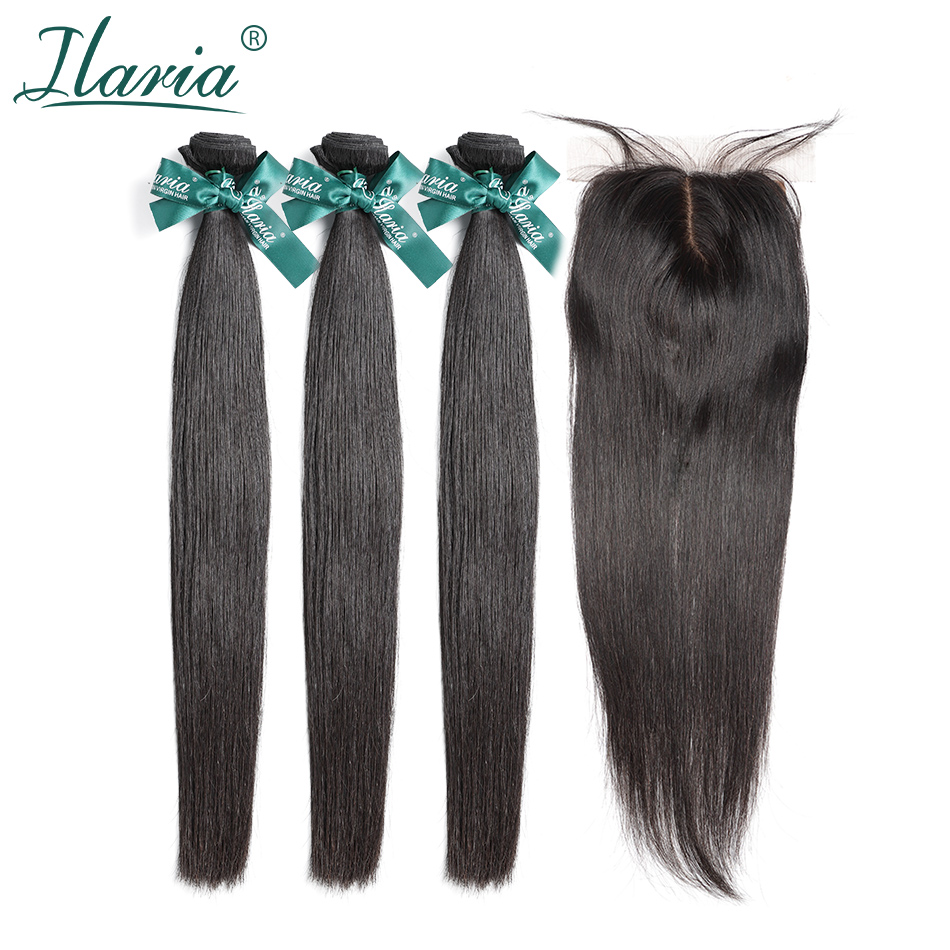 ILARIA HAIR Straight Human Hair Bundles With Closure 100 Raw Brazilian Remy Human Hair Weave 3