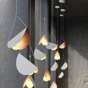 Image 3 - Metal Origami Pendant Lamp Flying Folded Paper Art Iron Suspension Light Cafe Dinning Room Restaurant Hotel Bar Hanging Lighting