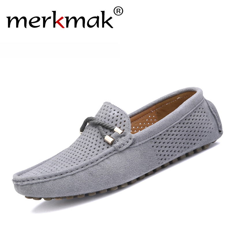 Summer genuine leather men shoes casual driving shoes leather mocassin soft breathable men flats brand shoes
