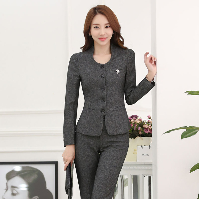 Novelty Gray Formal Uniform Design Professional Work Wear Suits ...