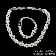 Top Quality Freshwater Pearl Necklaces Collares Fashion Natural Pearl Necklace Bracelet Set for Women Jewelry bijoux femme