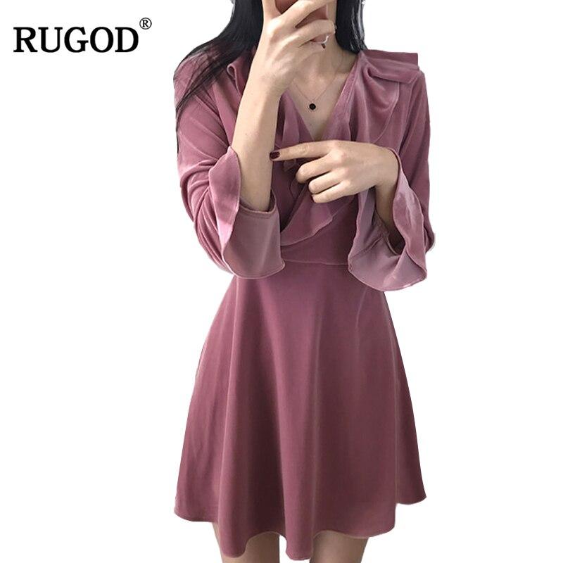 RUGOD 2018 Spring Korean Flounce V Neck Long Flare Sleeve Dress Women High Quality Solid Velvet Tunic Mini Dress Party Dresses