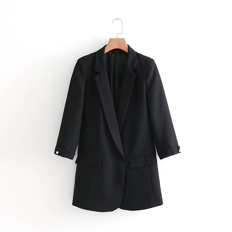 Women Spring New Causal Loose Women Blazer Pearl Buttons Three-quarter sleeves blazer with pockets women jackets
