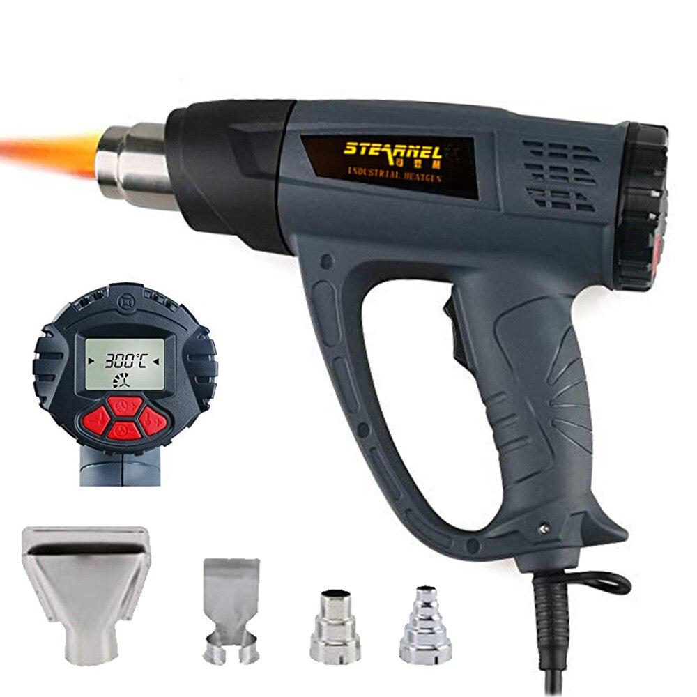 Pistolet à chaleur comprimé de ventilateur d'air chaud pistolet à chaleur avec affichage LCD 2000 W pistolet à chaleur sans fil fonction de contrôle du vent Kits de pistolet à Air chaud