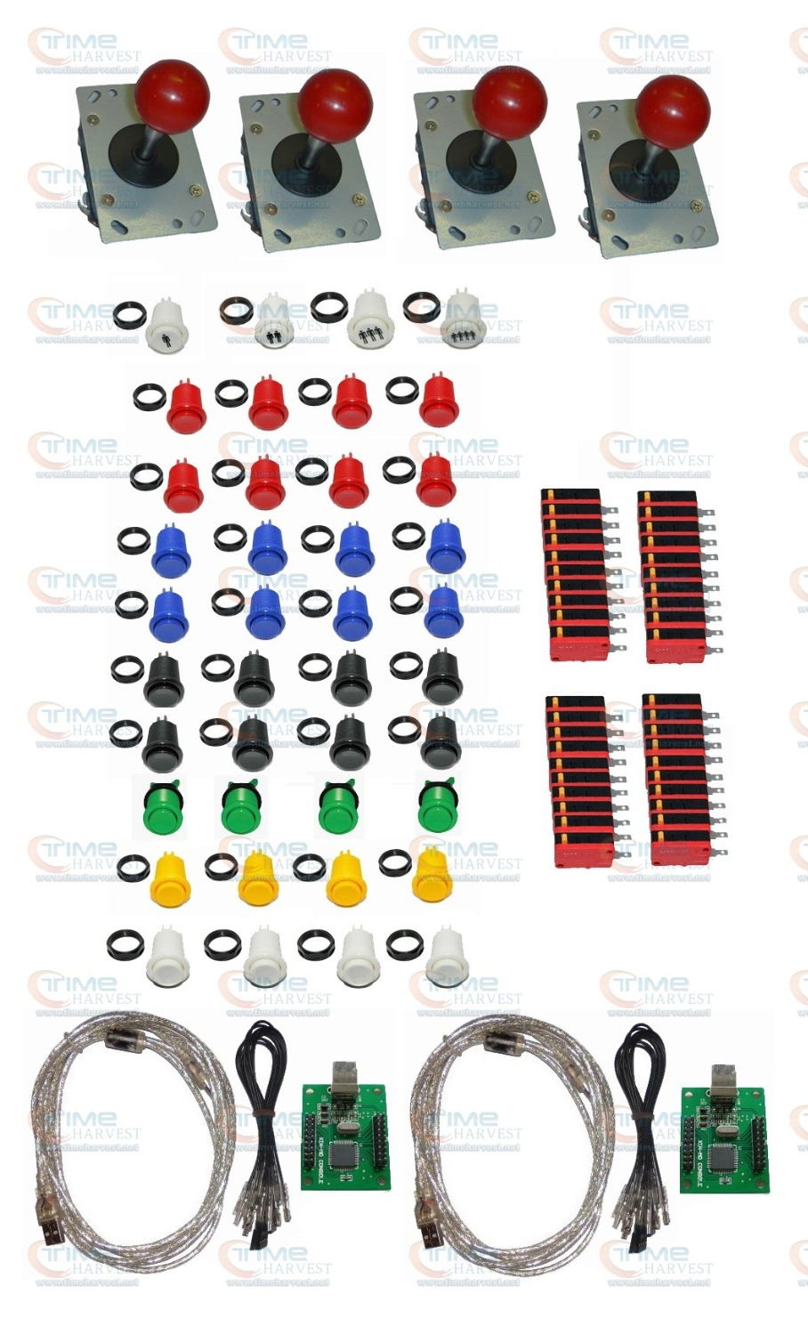 4 player USB Arcade parts Bundles Kit with 2x 2 player USB adapter Joystick American style button Microswitch 1P 2P 3P 4P button arcade parts bundles kit with 60 in 1 board power supply joystick push button microswitch harness glass clips coin door camlock