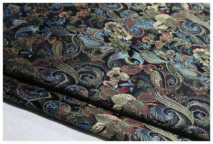 75x100cm Nero del fiore della stampa Jacquard Broccato Tessuto, jacquard tessuto del vestito tappezzeria mobili borsa in tessuto tenda materiale da cucire