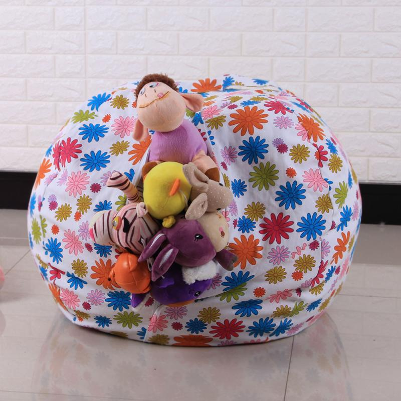 CONEED Large capacity Kids Stuffed Animal Plush Toy Storage Bean Bag Soft Pouch Stripe Fabric Chair drop shipping Q6