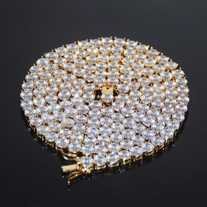 Image 5 - 4mm 5mm 6mm 1 Row Tennis Chain Zircon Necklace Hip Hop Jewelry Gold Color Copper Material Men Rock Link 18inch 20inch