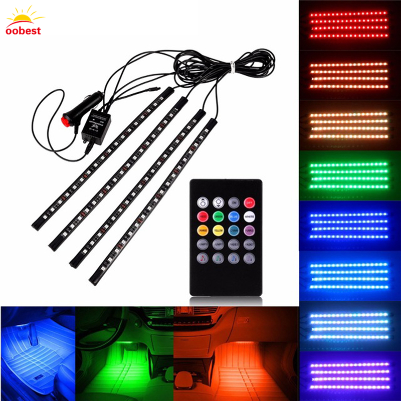 Car RGB LED Strip 4pcs SMD 5050 10W Car Interior Decorative Atmosphere Strip Auto RGB Pathway Floor Light Remote Control 12V new 12v 4 in 1 interior voice control led atmosphere light lamp 8 color rgb car decoration foot strip light with controller