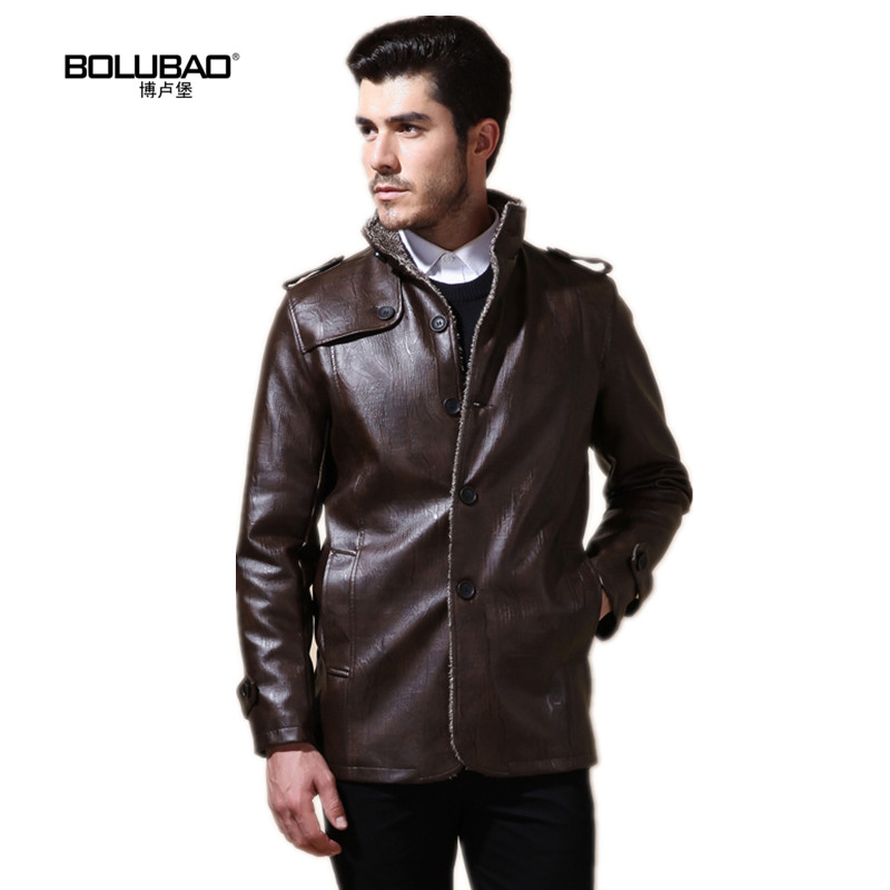 Bolubao New Winter Jacket Men Fashion Fleece Lined Thick Warm Outerwear Plus Size M-7XL Male Motorcycle Faux Leather Coats