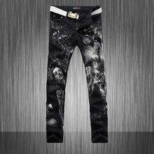 Мужская печати джинсы мужской тонкий тигр цветной рисунок цветка упругие брюки джинсовые печатных окрашены длинные брюки MB561 Z25
