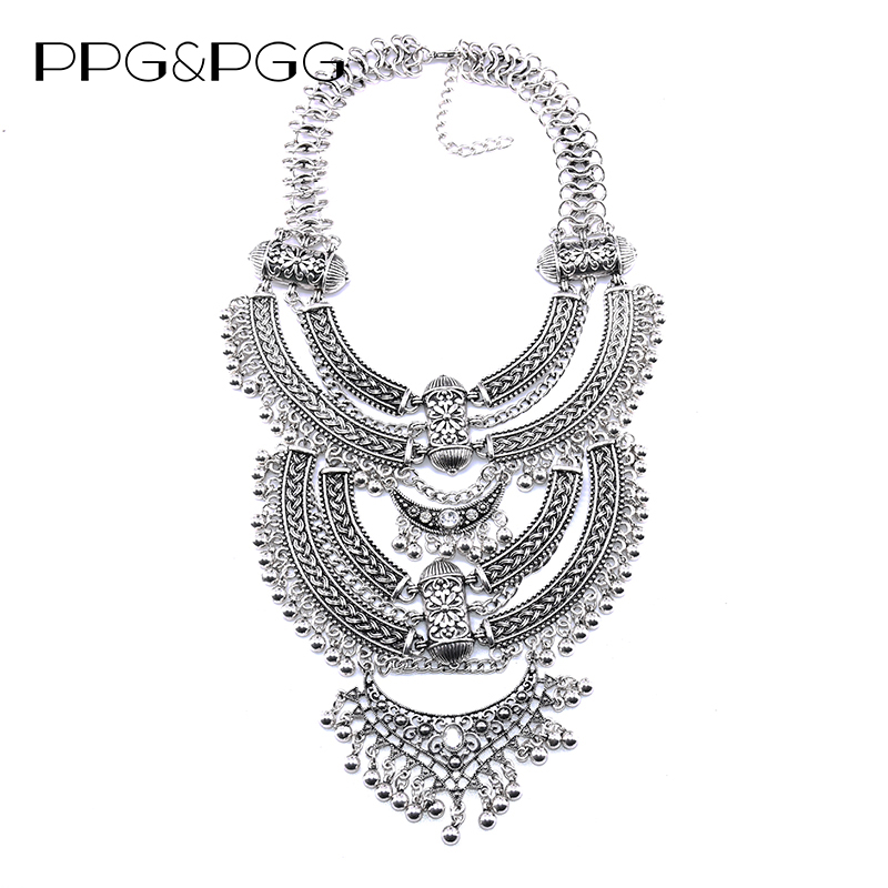 PPG&PGG trendy maxi vintage collares women choker tassel statement necklace wholesale