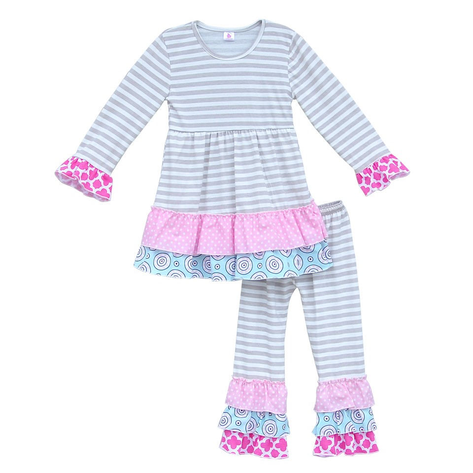 Toddler Girls New Spring Grey Stripes Clothing Sets Full Sleeves Cotton Top Ruffle Pants Kids Suit Children 2 Pcs Outfits F015