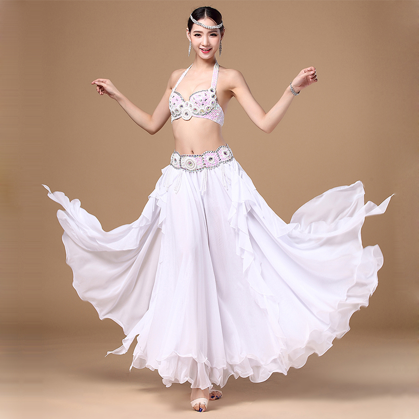 Professional Samba Belly Dance Costume Bead Bra Top Belt Skirt Bollywood Outfit