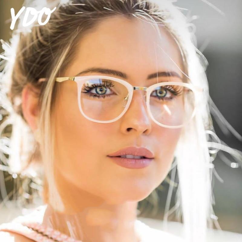 YDO Ženska okrogla očala Frame Transprent Clear Clear Steklo Stekla - Oblačilni dodatki