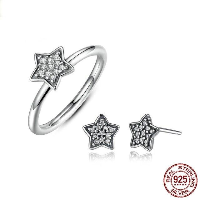 3d7b163e5 Popular 100% 925 Sterling Silver Cute Girl Women Jewellery set, Simple Star  Five-pointed star ring + stud earings Jewelry set