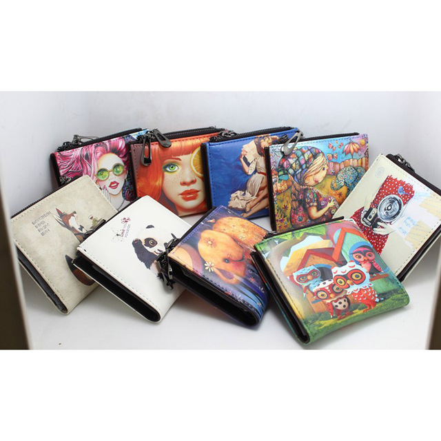 New Brand Designer Creative Painting Wallet for Women Short Zipper Coin Purse Fancy Pu Leather Wallets Small Handy Bag Ladies