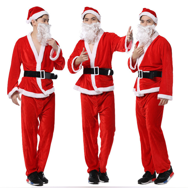 ChenKe Mens Adult Santa Claus Father Christmas Costumes Suit Xmas ...