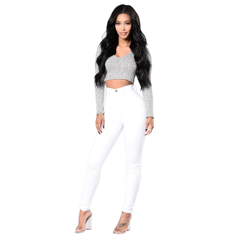 High waist push up women   jeans   skinny pencil pants female solid color   jeans   9A00