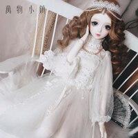 New Handwork Lace High collar dress white Wedding Dress 1/3 SD10 SD BJD Doll Clothes