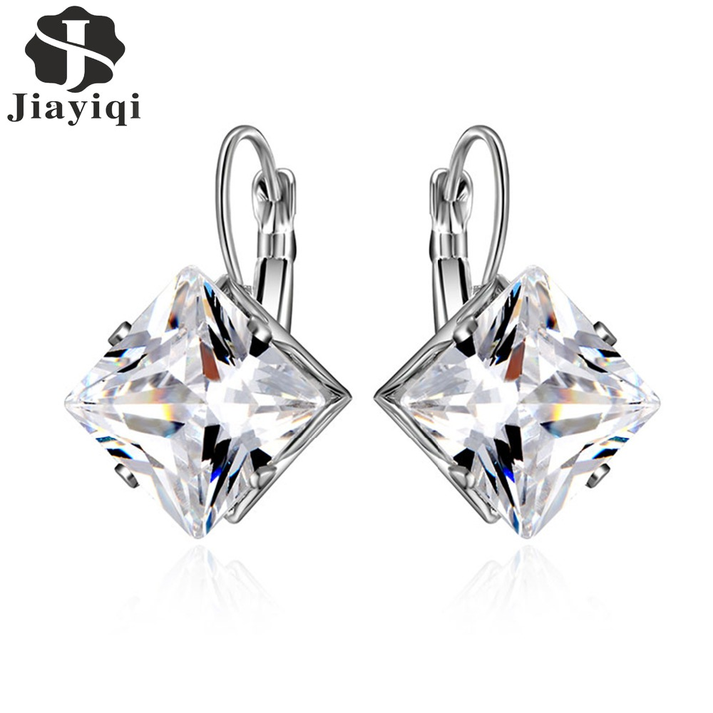 Korean Style Rhombus Silver Color Earrings For Women Girls Wedding Fashion Jewelry Earrings Cubic Zirconia Christmas Gifts