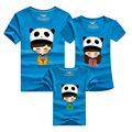 New summer short-sleeve family t-shirts cartoon Panda family look mother father baby outfits family sets soft cotton T shirts