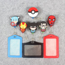 Cute Famous Silicone card case holder Bank Credit Card Holders Bus ID Holders Identity Badge with Cartoon Retractable Reel недорого