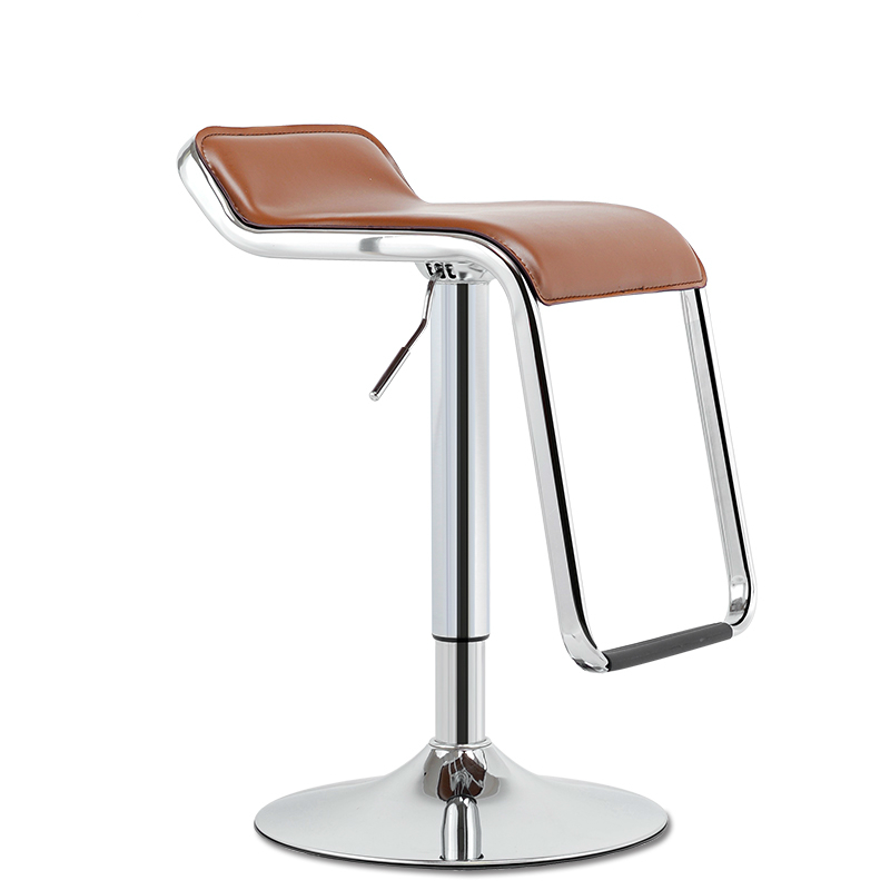 Bar Chair With Footrest Lifted Metal Multi-function Front Desk High Stool Household Simple PU Seat Office Leisure Stool