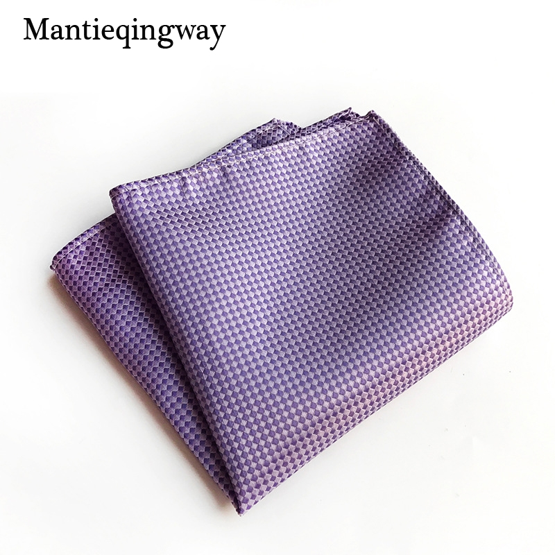 Mantieqingway 25*25cm Polyester Handkerchief Pocket Square For Mens Suit Striped Plaid Pocket Towel Wedding Hankies Chest Towel