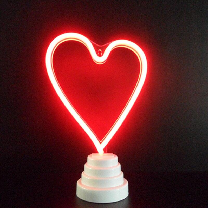 Романтический Сердце неоновый свет ночь любовное письмо знаковое событие неоновый свет USB/батареи led neon настольные лампы неон моделировани...
