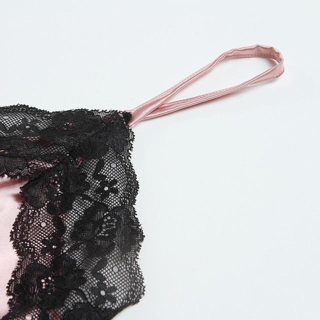 Lingerie Lace Trim Satin Bodysuit Elegant Holiday Casual Romper Mini Belt Playsuit Women's Pajamas 3