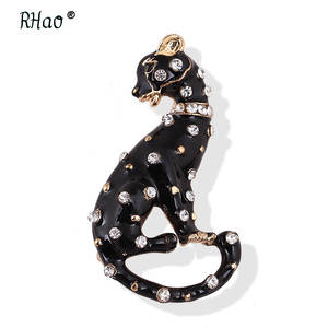 Pin Men Brooches Suits Jewelry Coat Corsage Collar Gift Leopard Black Enamel Women Animal
