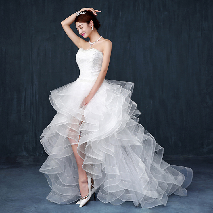 Strapless Wedding Dress Sexy Short Front Long Back Bride Women Lace Train Dresses WED90222 In From Weddings Events On