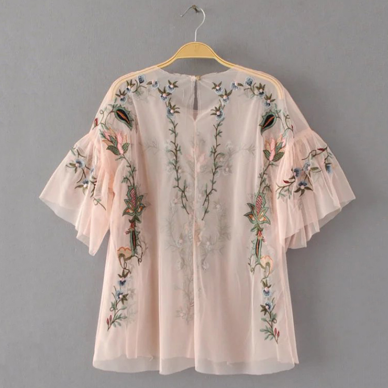 0a47ee9edfb Ky Q Summer 2018 Sexy See Through Women Mesh Top Blouses Short Sleeve Floral  Embroidery Shirts For Female Beach Party Blusas-in Blouses   Shirts from ...