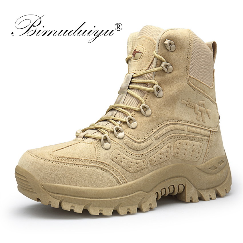 BIMUDUIYU Winter Autumn Men Military Boots Quality Special Force Tactical Desert Combat Ankle Boats Army Work Shoes Snow Boots winter autumn men high quality brand military leather boots special force tactical desert combat boats outdoor shoes snow boots