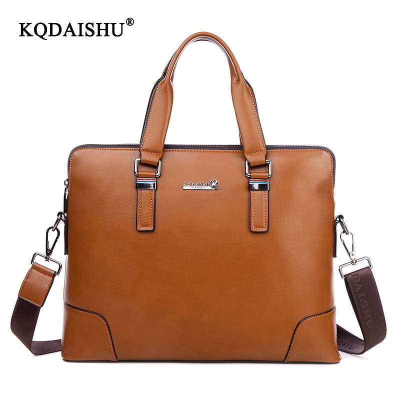 KQDAISHU Brand Casual male package quality Tote for Men Business briefcase bag pu Leather new Handbag