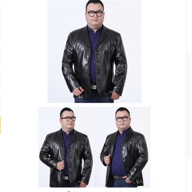 big size 8XL 7XL6XL Men leather suit 2018 autumn and winter blazer male sheepskin suit tops split leather slim jacket black coat