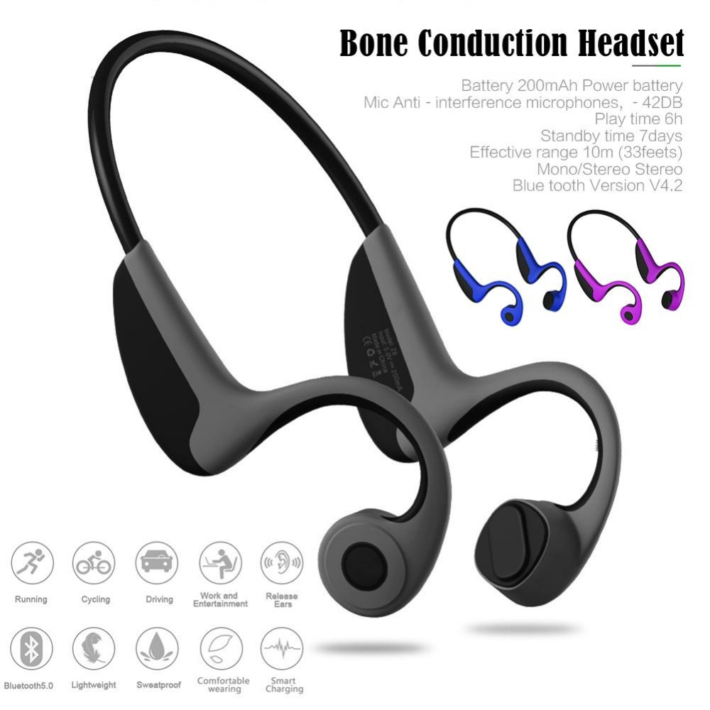 bone conduction Headset Wireless Bluetooth 4.2 Stereo Headset Neck-Strap Headphone Bone Conduction Hands-Free Earphone bone conduction gs headset wireless bluetooth headphone stereo waterproof hand free high end for running riding outdoor sports