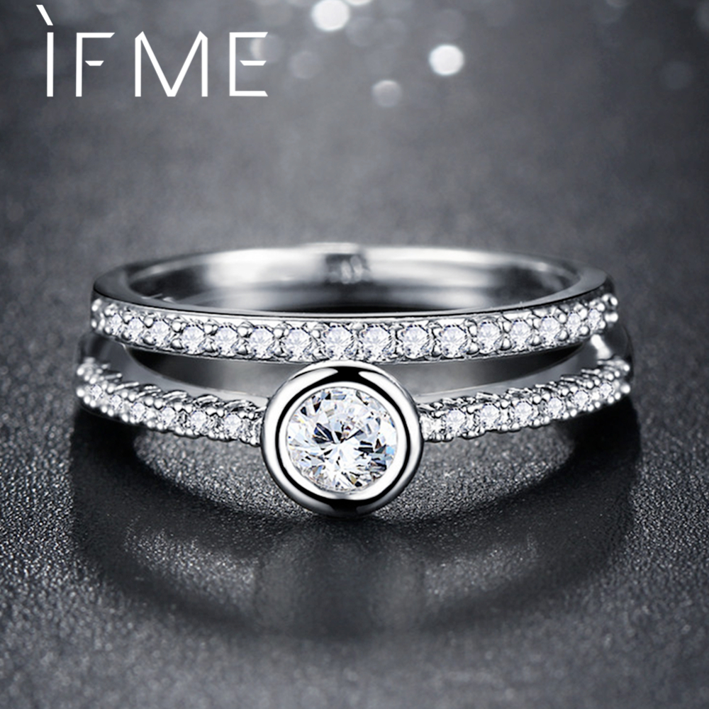 IF ME 2pcs/set Fashion Cubic Zirconia Ring for Women Fancy Silver Color Micro Paved Crystal Finger Anillo Lady Wedding Jewelry