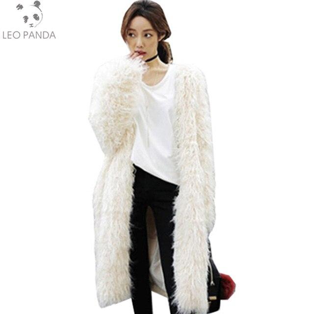 fluffy fausse fourrure manteau femmes chaud chic femelle long surv tement blanc l gant automne. Black Bedroom Furniture Sets. Home Design Ideas
