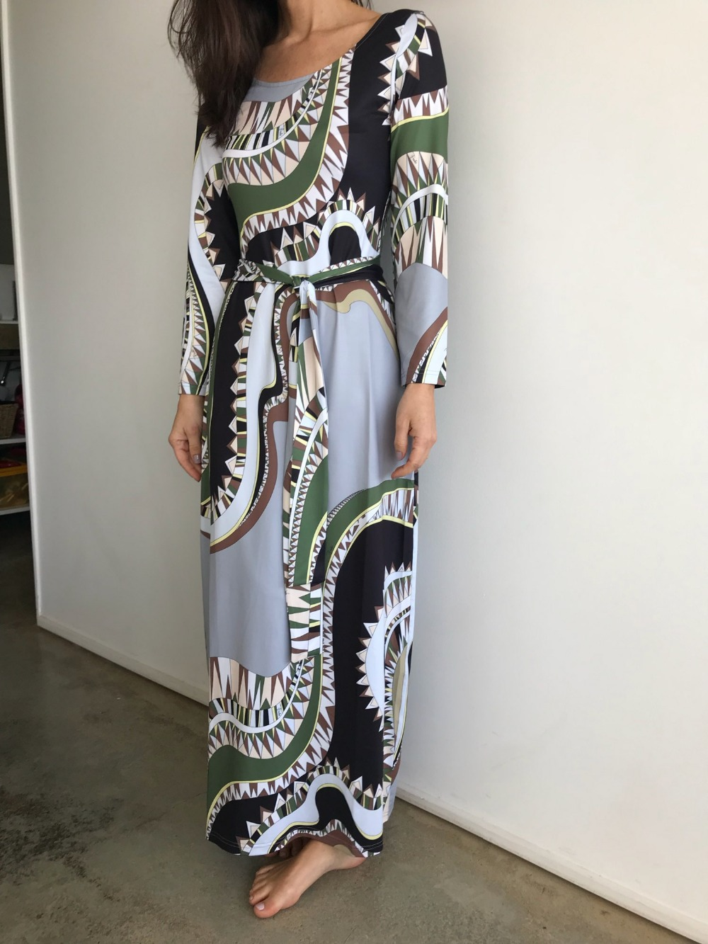 a98c6ea6bc62 Φορέματα New Women's Luxury Brands Vintage Jersey Silk Dress Long Sleeve  Bohemia Printed Bodycon Spandex Stretchable Signature Maxi Dress