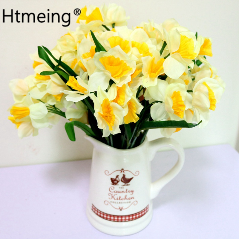 Daffodil and Bud Artificial Posy 13 Inches Yellow