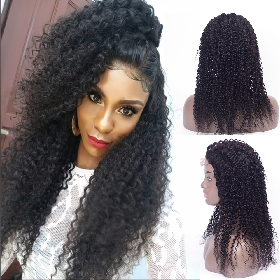 lanqi kinky curly 4×4 lace closure wig lace front curly human hair wigs for black women brazilian lace front wigs closure wig