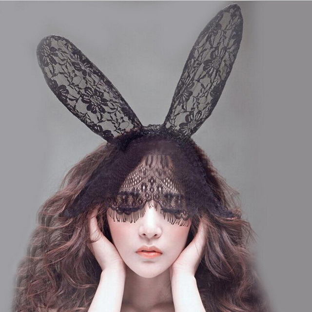 New Fashion Women Lace Rabbit Bunny Ears Veil Hair Accessories Sexy Black  Mask Halloween Party Sexy f36a9400eb51