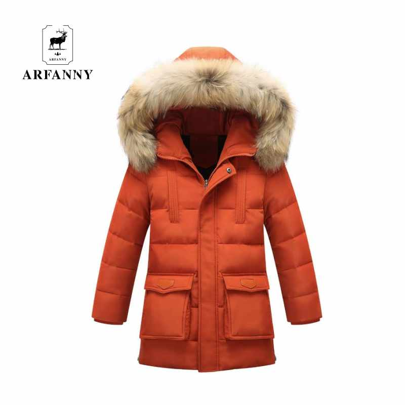 The children down large children's wear in winter jacket boy genuine long thick coat цена