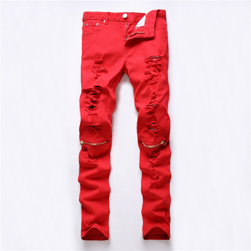 2017 Ripped Straight Jeans Men Red Slim Fit Zipper Jeans Men's Hole Denim Fabric Hip Hop Skinny Cotton White Pants Casual Mens 2017 ripped straight jeans men slim fit zipper jeans men s hole denim fabric hip hop skinny cotton white blick pants casual mens