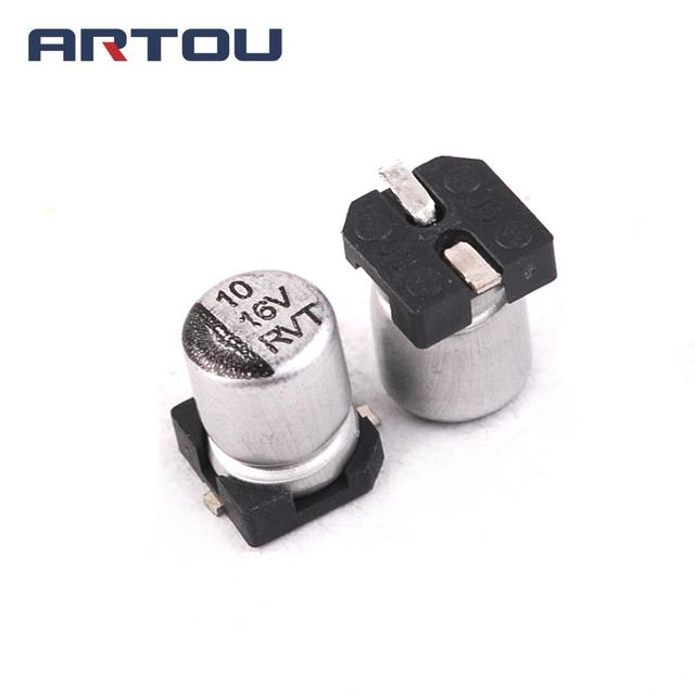 50pcs Aluminum Electrolytic Capacitor 16v 10uf Size 4 5mm