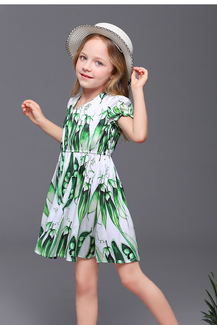 Summer children clothing kids fashion family look clothes girl pea print dress puff sleeves mother daughter matching beach dress цена
