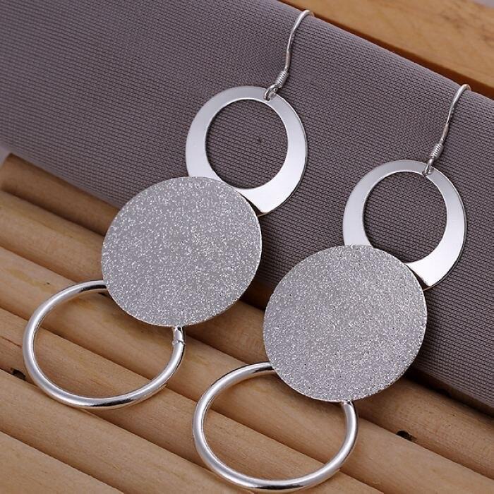 Silver color creative for women lady charms cute wedding fashion Double circle earrings Circular shape silver earrings E012