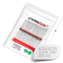 (100 pièces) BZX55C20 BZX55C20V (1N5250B) Diode Zener 0.5 W 20 V DO-35 (DO-204AH) 0.5 Watt 20 volts IN5250B 1N5250